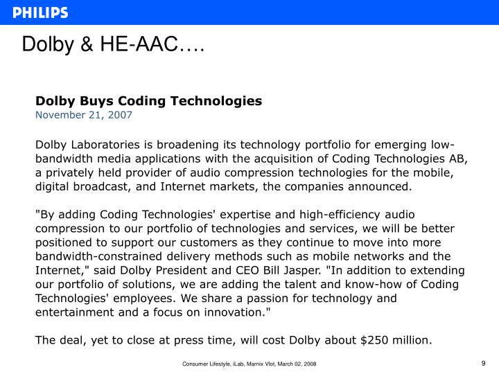 Dolby & HE-AAC….
