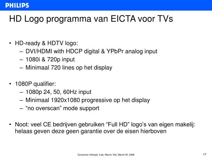 HD Logo programma van EICTA voor TVs