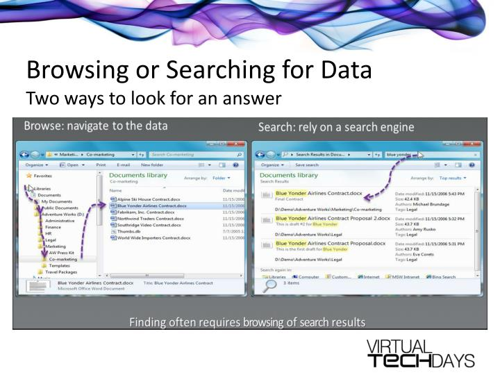 Browsing or Searching for Data