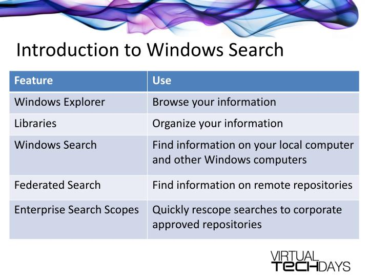 Introduction to windows search