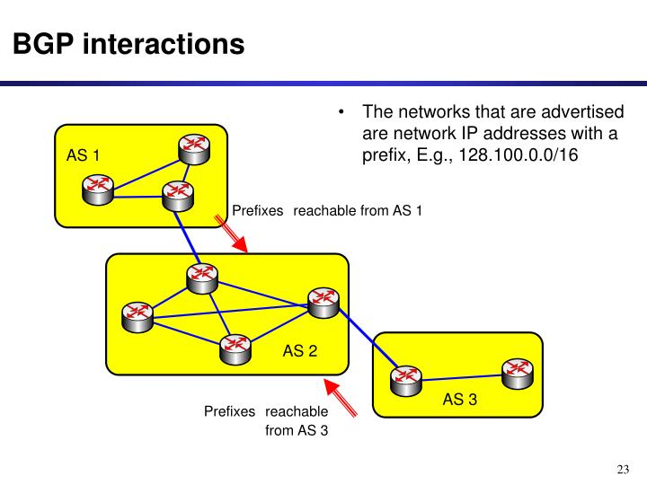 The networks that are advertised are network IP addresses with a prefix, E.g., 128.100.0.0/16