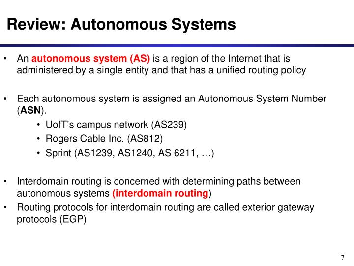 Review: Autonomous Systems