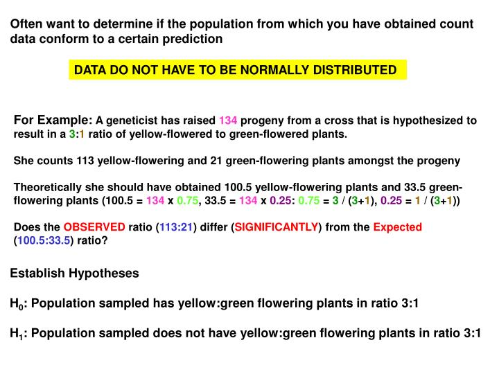 Often want to determine if the population from which you have obtained count data conform to a certain prediction