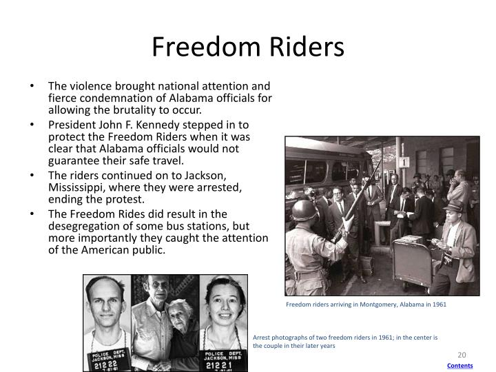 Freedom riders arriving in Montgomery, Alabama in 1961