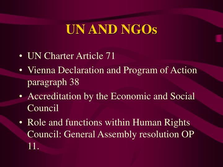 UN AND NGOs