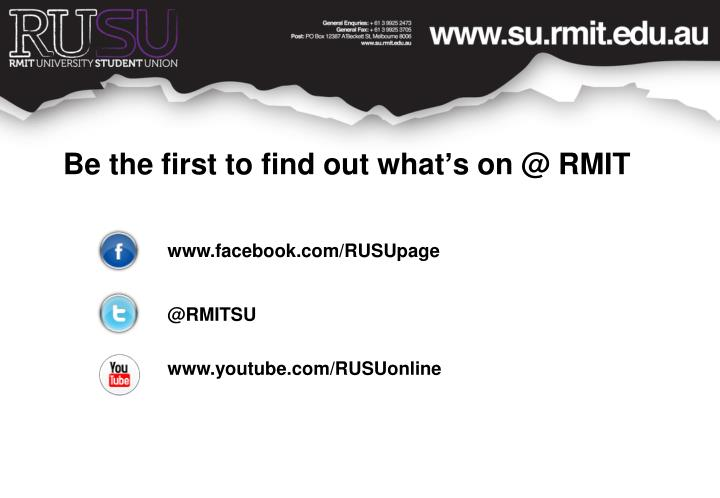 Be the first to find out what's on @ RMIT
