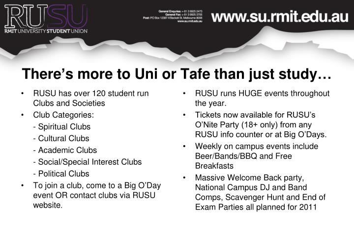RUSU has over 120 student run Clubs and Societies