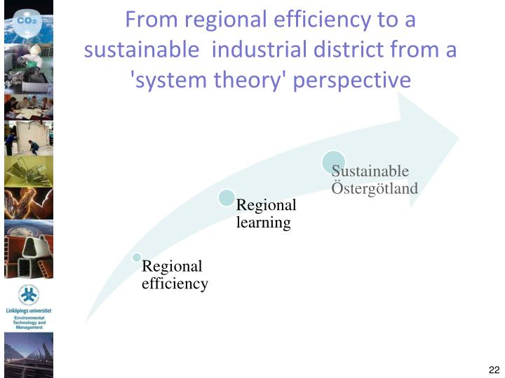 From regional efficiency to a sustainable  industrial district from a 'system theory' perspective
