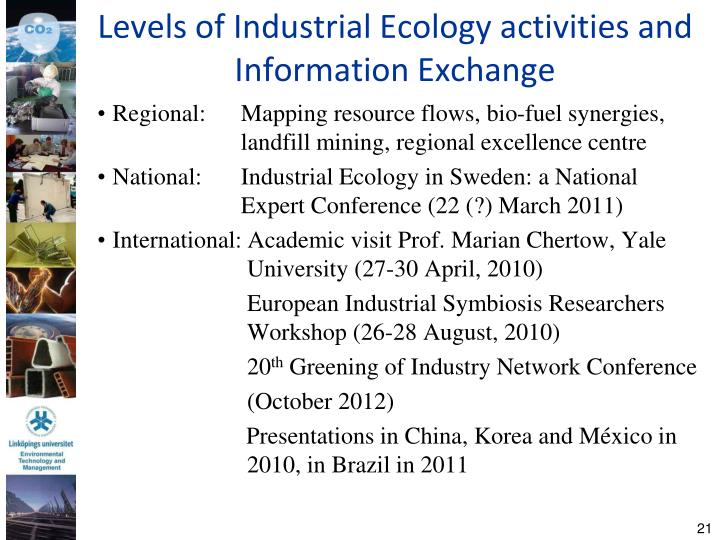 Levels of Industrial Ecology activities and Information Exchange