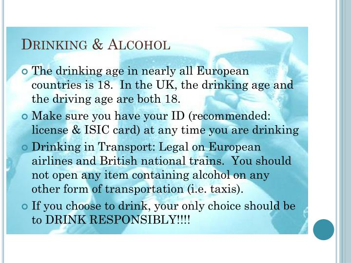 Legal Age To Drink On Trains