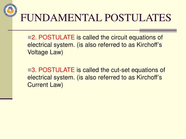 FUNDAMENTAL POSTULATES