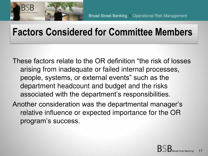 Factors Considered for Committee Members