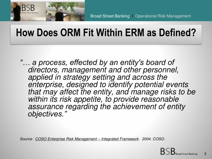 How does orm fit within erm as defined