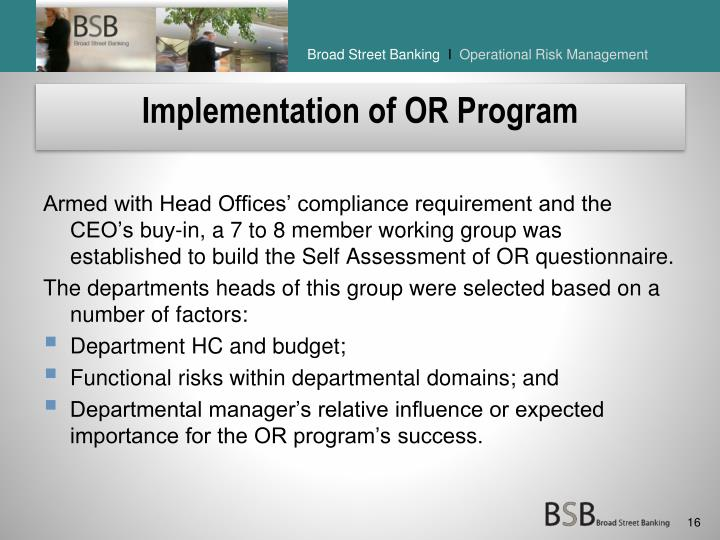 Implementation of OR Program