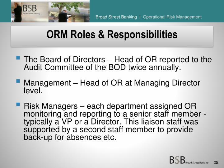 ORM Roles & Responsibilities