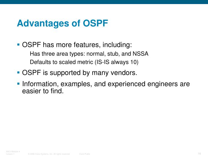 Advantages of OSPF