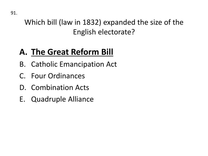 Which bill (law in 1832) expanded the size of the English electorate?