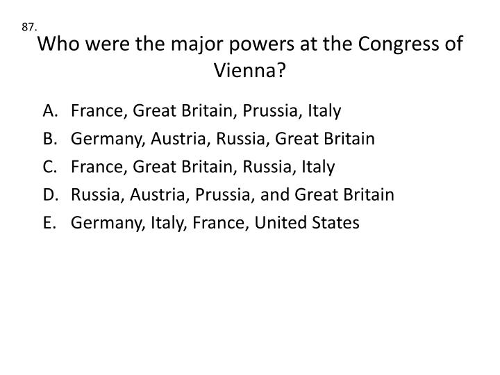 Who were the major powers at the Congress of Vienna?