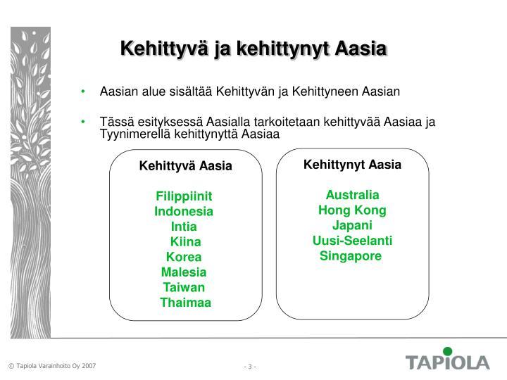 Kehittyvä ja kehittynyt Aasia