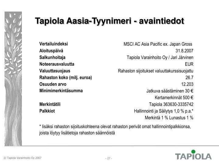 Tapiola Aasia-Tyynimeri - avaintiedot