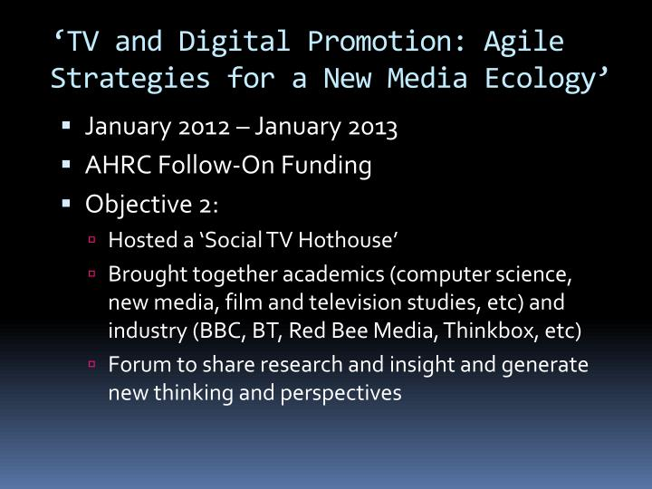'TV and Digital Promotion: Agile Strategies for a New Media Ecology'