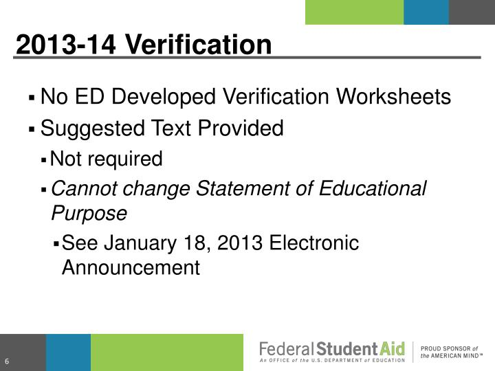 No ED Developed Verification Worksheets
