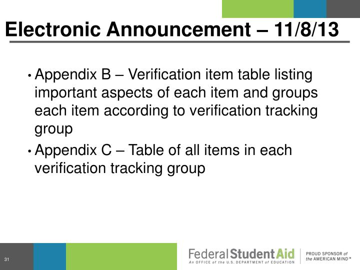 Electronic Announcement – 11/8/13