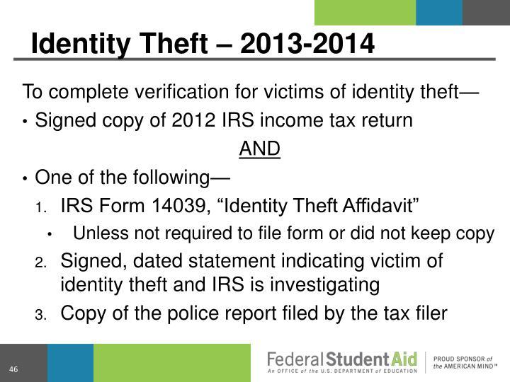 Identity Theft – 2013-2014