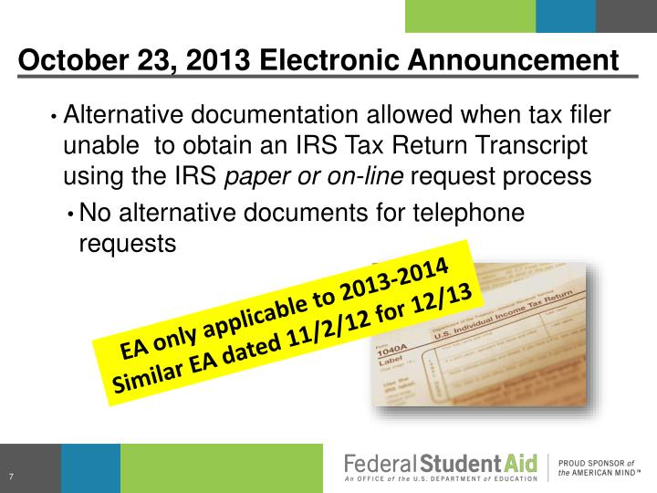 October 23, 2013 Electronic Announcement