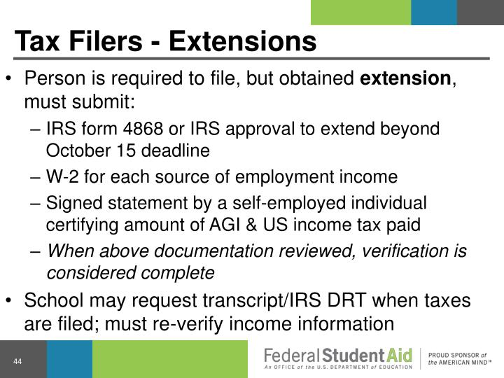 Tax Filers - Extensions
