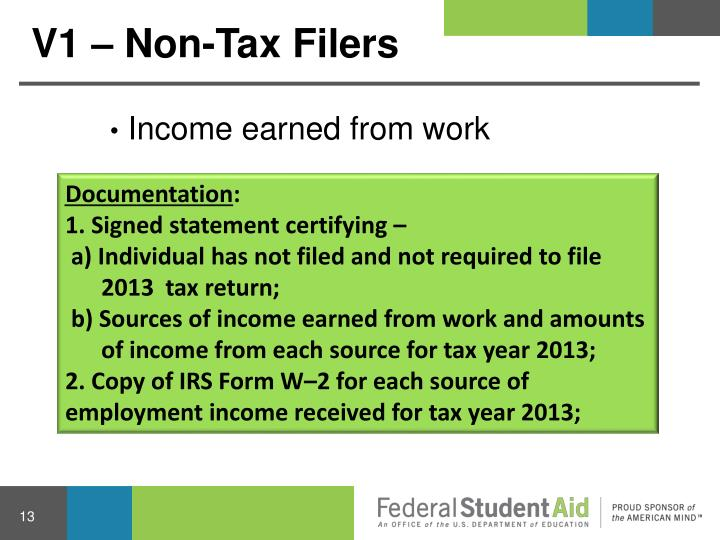 V1 – Non-Tax Filers