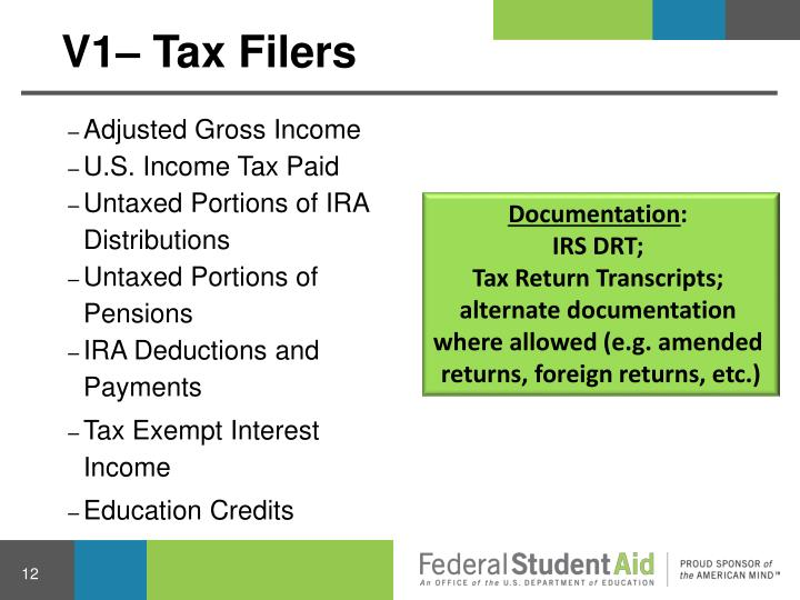 V1– Tax Filers