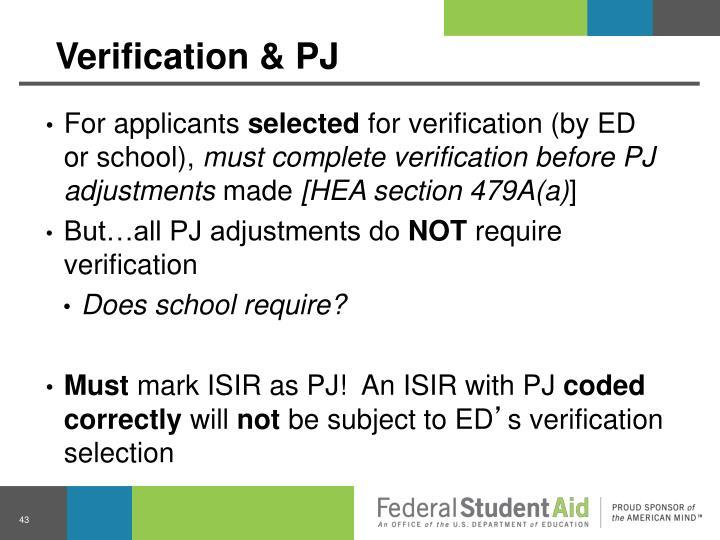 Verification & PJ