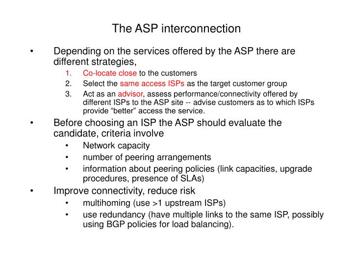 The ASP interconnection