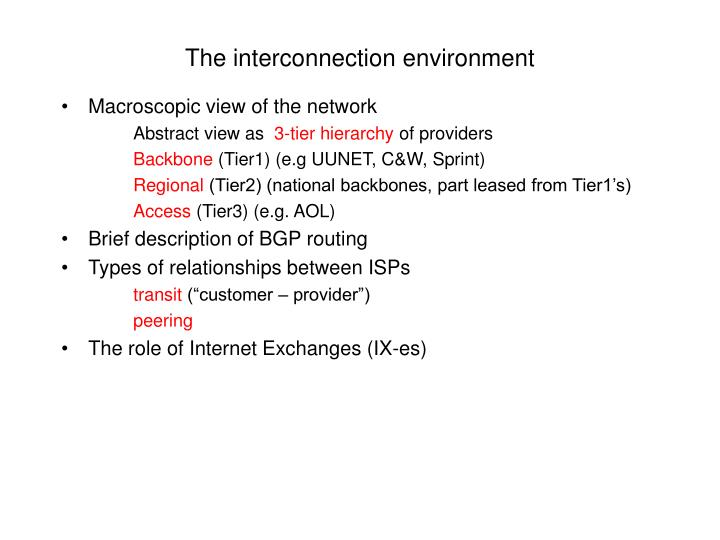 The interconnection environment