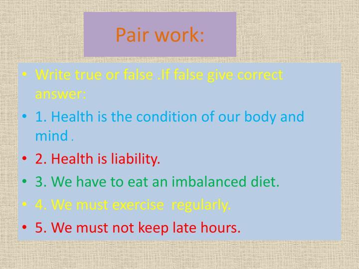 Pair work: