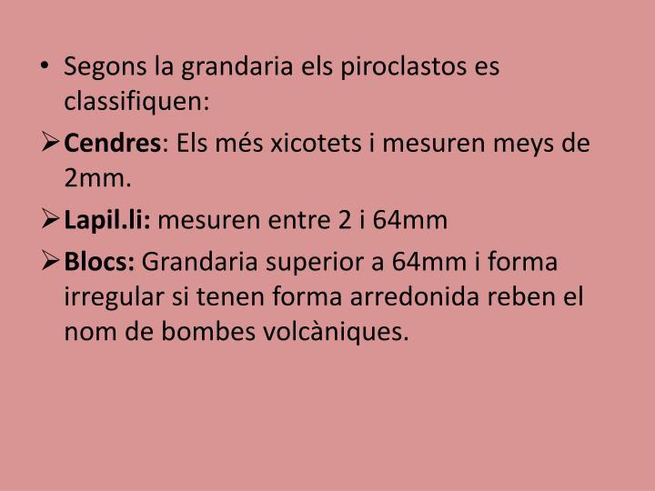 Segons la grandaria els piroclastos es classifiquen: