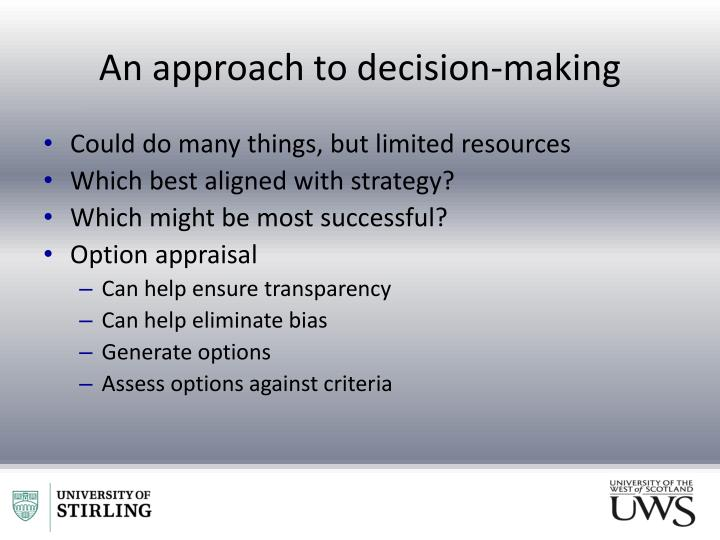 An approach to decision-making