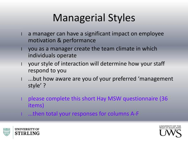 Managerial Styles