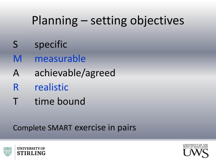 Planning – setting objectives