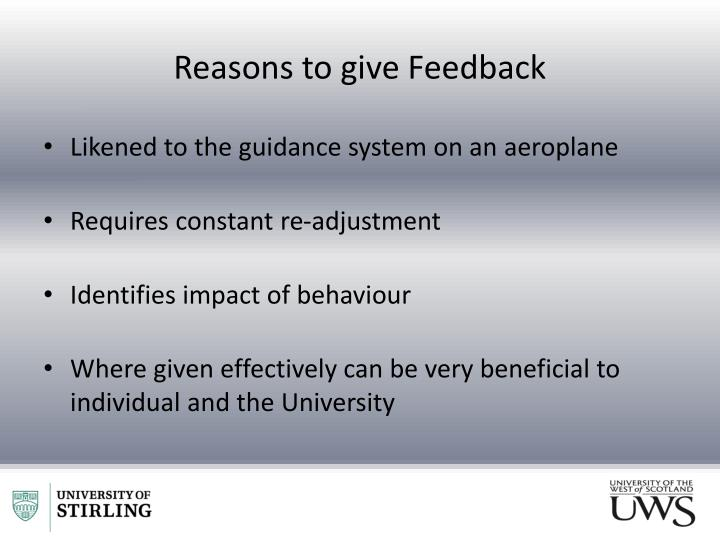 Reasons to give Feedback