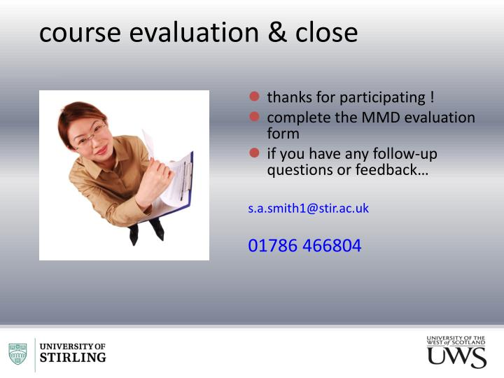course evaluation & close