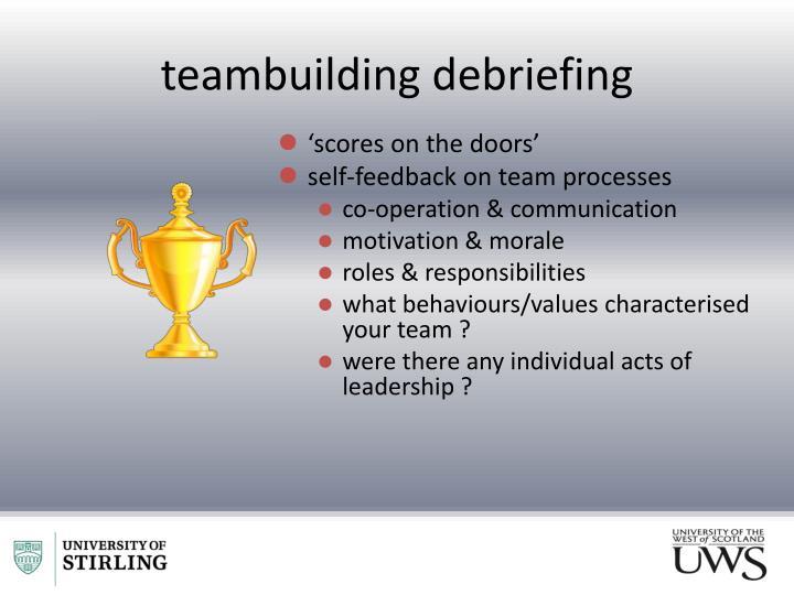 teambuilding debriefing