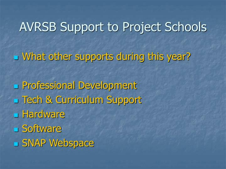 AVRSB Support to Project Schools