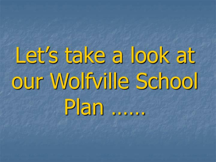 Let's take a look at our Wolfville School Plan ……
