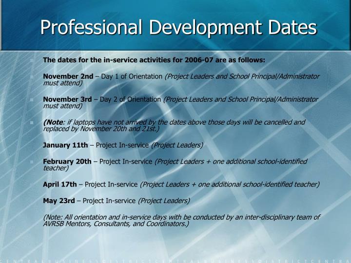 Professional Development Dates