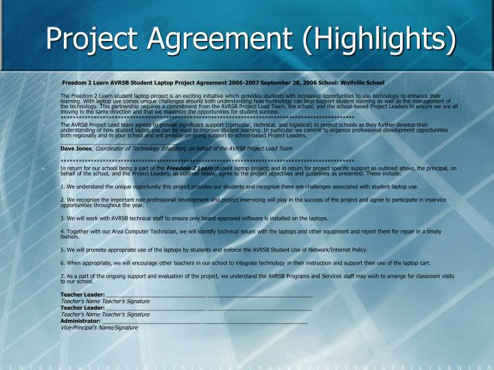 Project Agreement (Highlights)