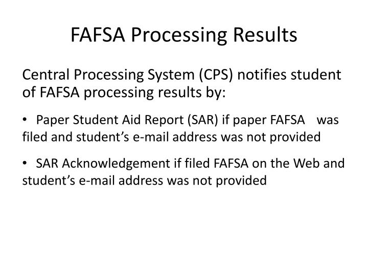 FAFSA Processing Results