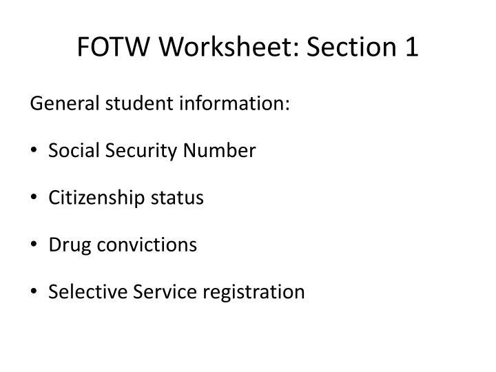 FOTW Worksheet: Section 1
