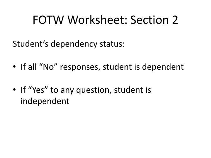 FOTW Worksheet: Section 2